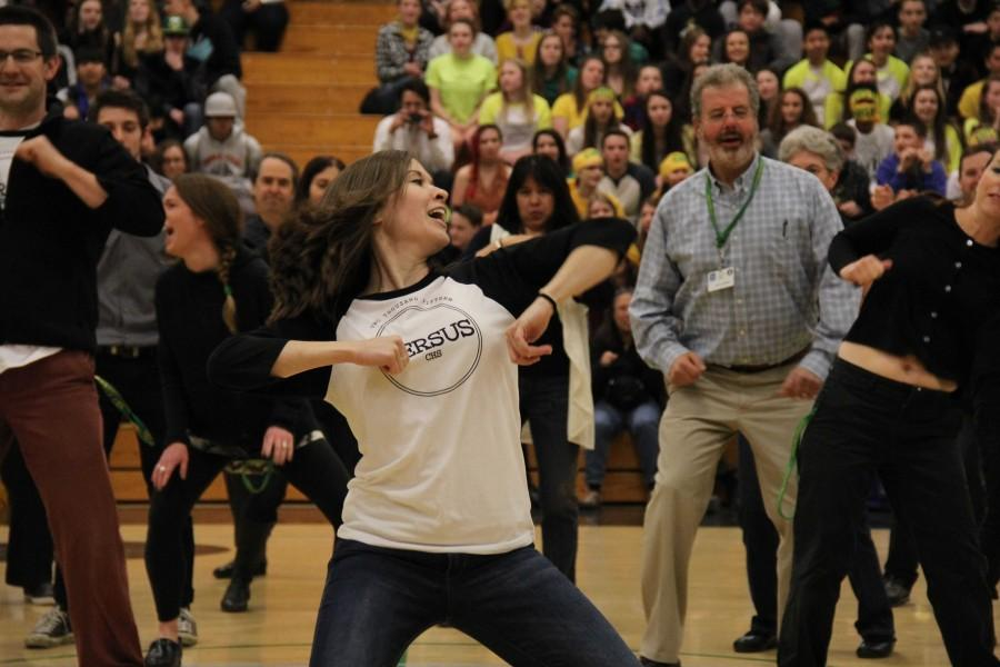 Heidie Sause gets down while leading the staff flash mob. Anya DeCarlo photo.