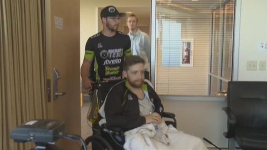 Alistair Corkett is discharged from OHSU after recovering from the crash. KGW photo