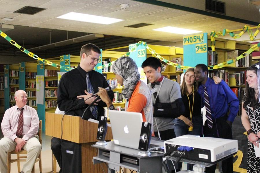Seniors are honored at the May 26 AVID night in the library