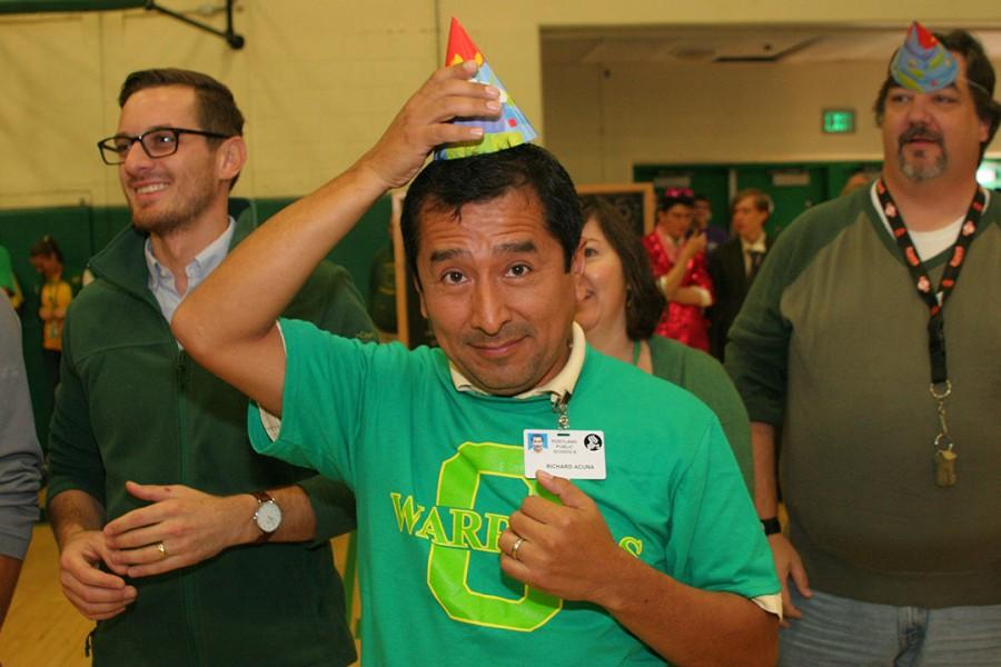 New Spanish teacher Richard Acuna puts the party in party hat