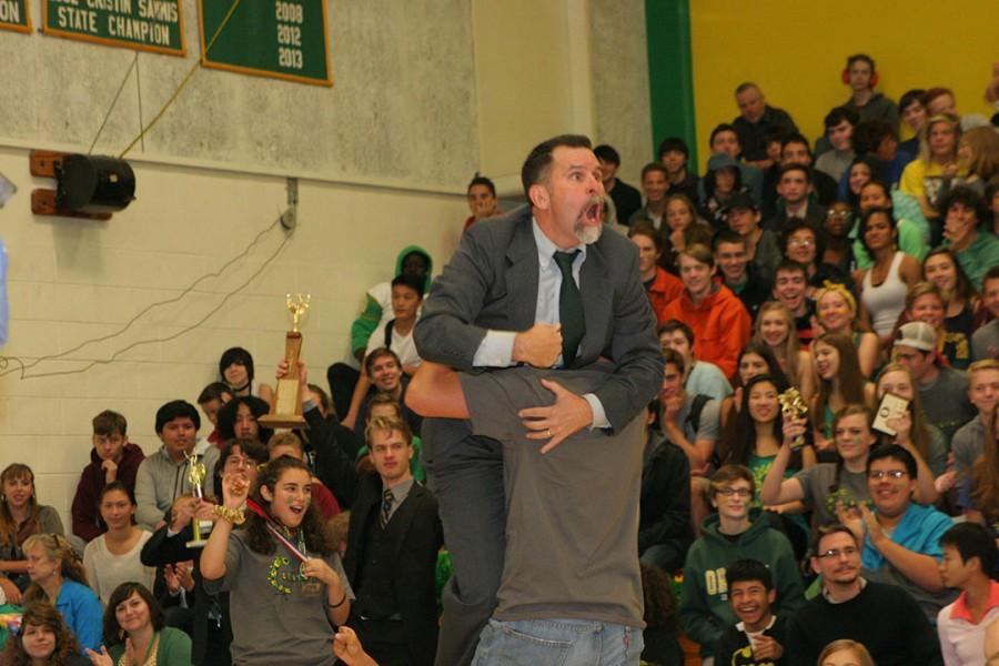 Senior Wyatt Starr carries off a hysterical Patrick Gonzales, speech and debate coach