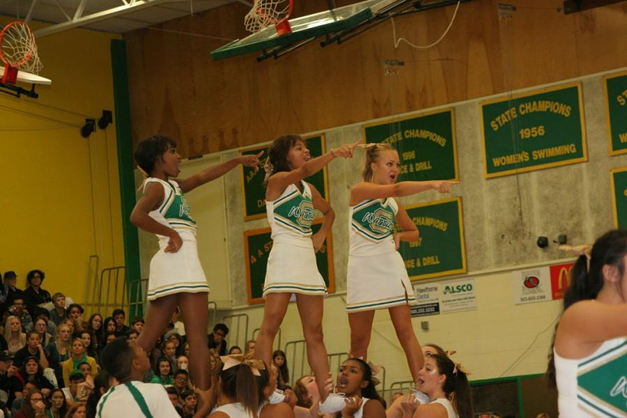 The Cleveland cheer squad excites the crowd