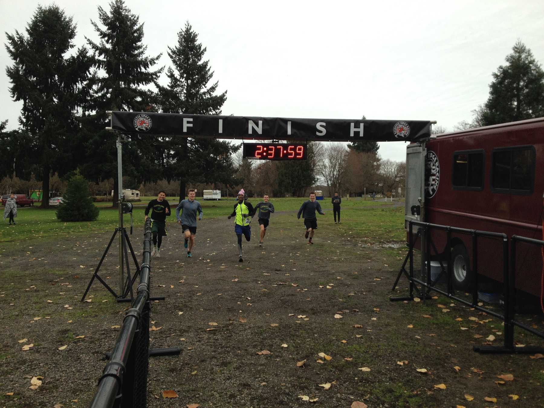 Cleveland Men sprint to the finish. Photo by Mark Hale-Brown