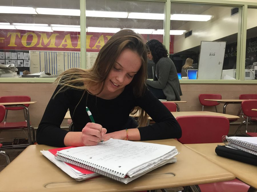 A Cleveland student does her homework