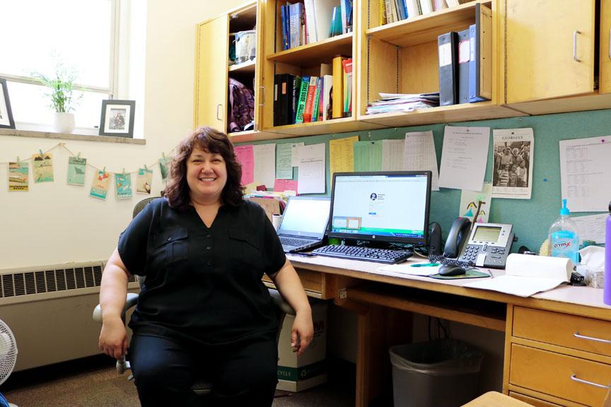 Counselor Heidi Tolentino in her office. Anna Rollins photo.