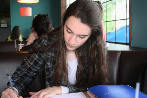 Senior Elena Matt can be seen studying before final exams last June.