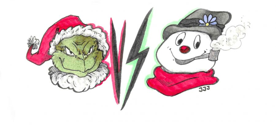 The Grinch and Frosty the Snowman battle it out atop the Burj Khalifa.