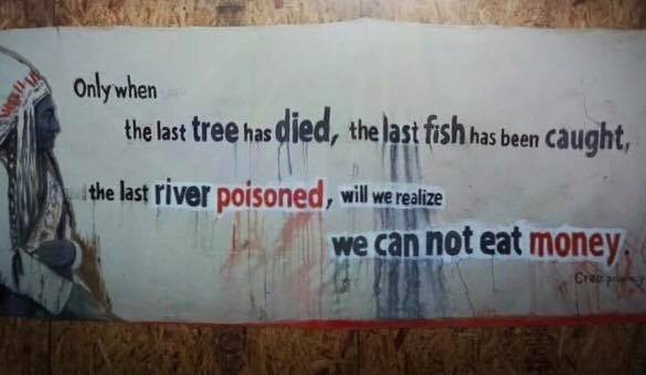 A sign located at the Standing Rock reservation. Image provided by Jake Larson.