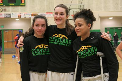 Luisa Potestio, Elena Matt, and Tynesha Parnell before their last home game