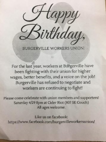 Photograph of the flyer handed out at the Burgerville Boycott demonstration.