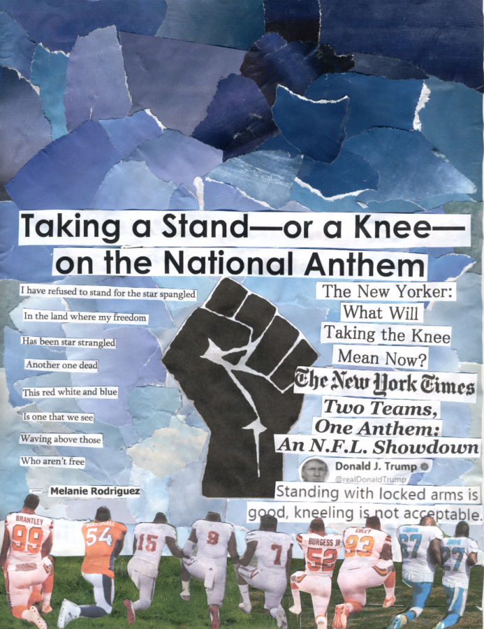 Various+teams+at+Cleveland+take+a+knee+or+stand+during+the+national+anthem.+Photos+by+Jaden+Rapaport.+Graphic+by+Lily+Beeson-Norwitz