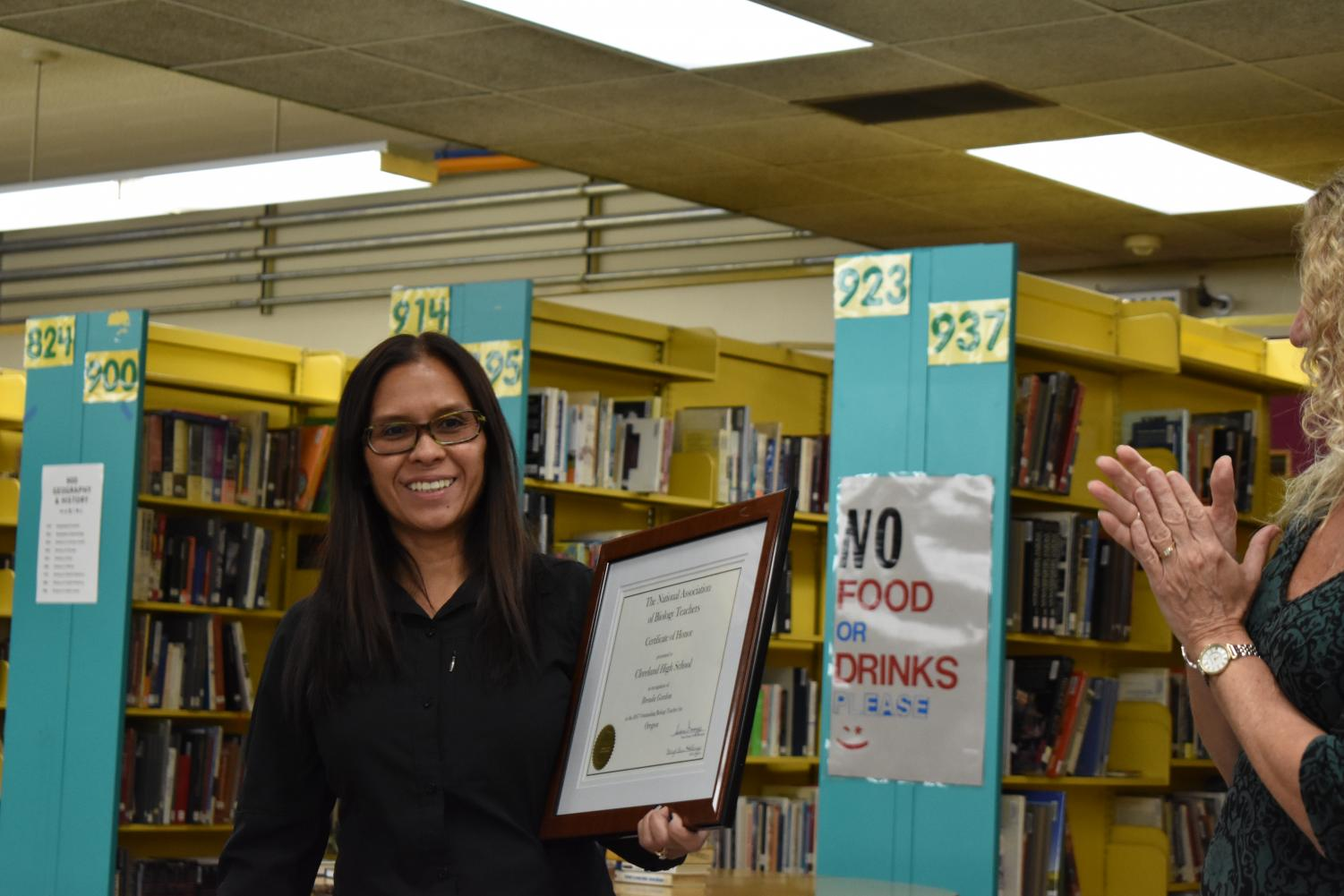 Biology teacher Brenda Gordon was honored Oct. 31 after school in the library in recognition for winning the state Biology teacher of the year.