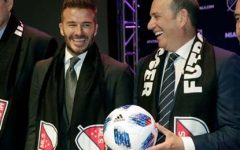 David Beckham and Don Garber, the MLS commissioner, at the announcement that Beckham's Miami club has joined MLS and will start play in 2020.