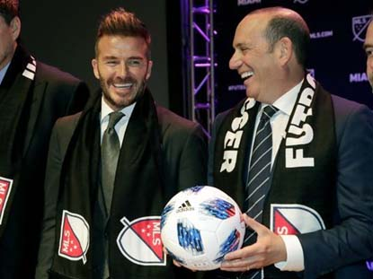 David Beckham and Don Garber, the MLS commissioner, at the announcement that Beckham