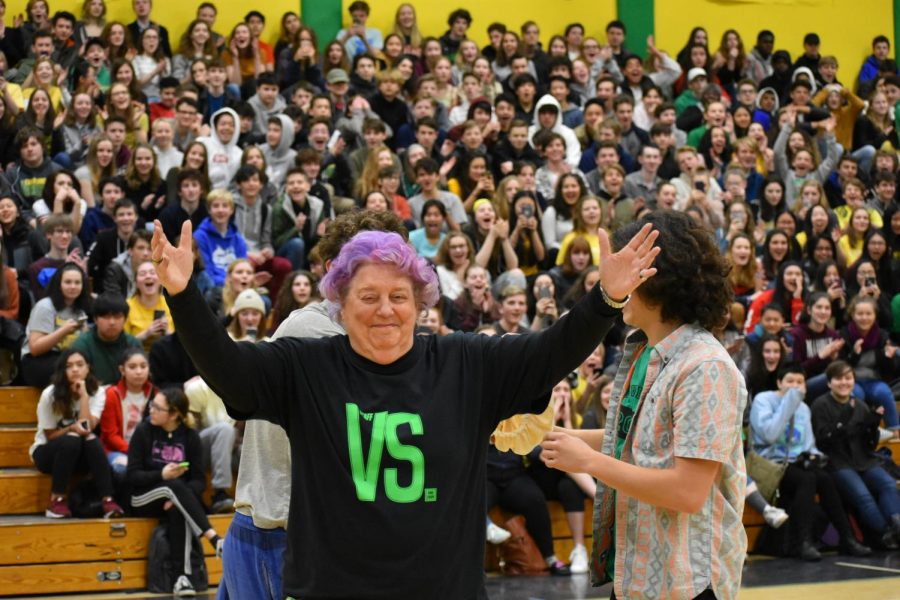 SHE PROMISED. Jan Watt, special projects coordinator and Cleveland icon, just before she reveals her purple hair dye job at the Versus Assembly on March 16. Watt promised to dye her hair purple if the student body raised more than $5,000 during a winter fundraiser to help Cleveland community members in need. The student body came through, and so did she. Watch how the drama unfolded at the end of the assembly.