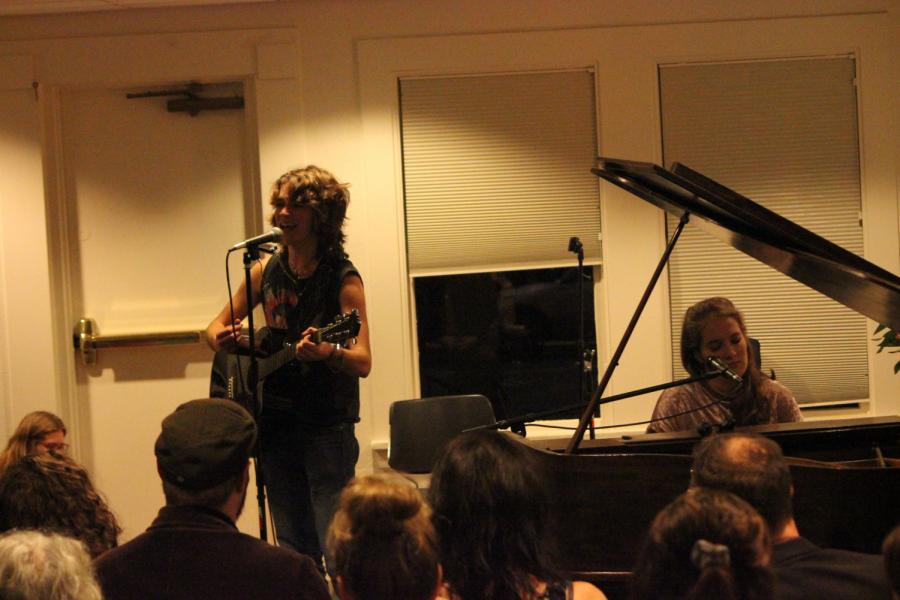Watson (Left) sings with Burkahrtsmeier