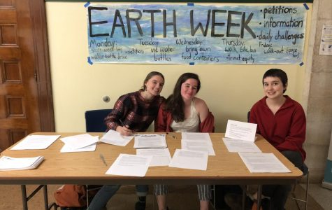 Cleveland students run Earth Week action tables at lunch.