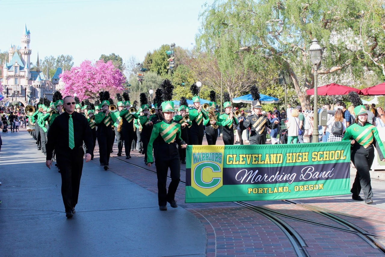 Cleveland's marching band, lead by Gary Riler, marching down Disneyland's Main Street