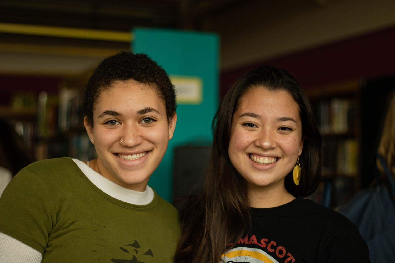 Museum curators and Cleveland seniors, Nia Williamson and Lily Rayor, at the CARE exhibition.