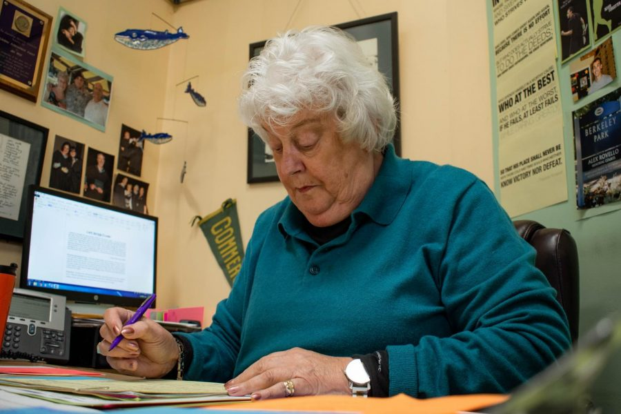Jan works in her corner office, preparing for any number of things on her busy plate as Special Projects Coordinator.