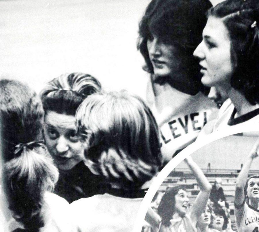 Jan Watt instructs her girls varsity basketball team during the 1979 season.