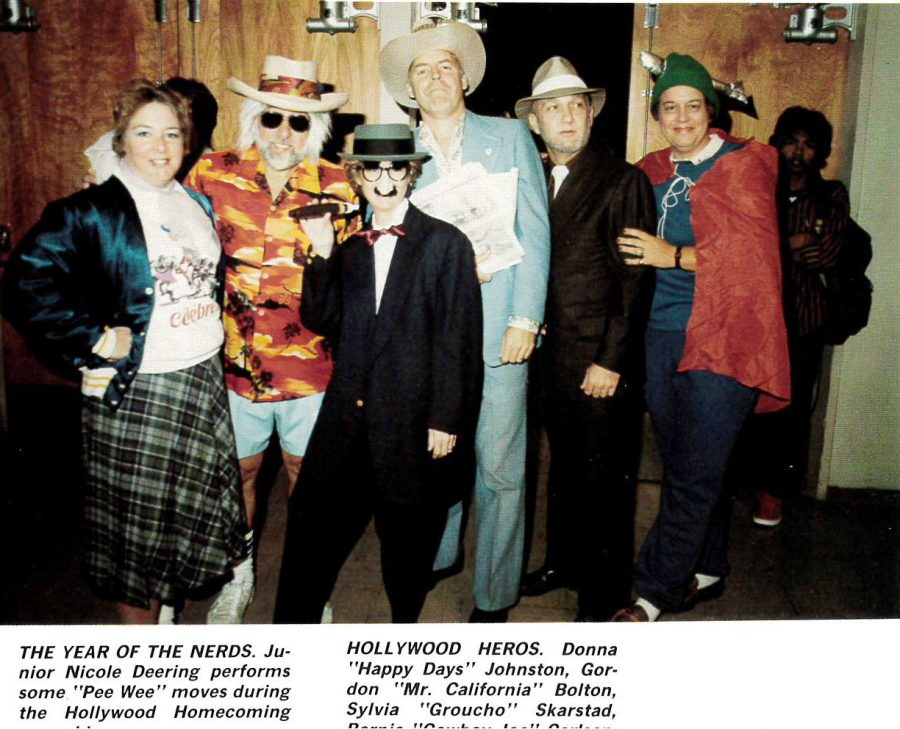 Jan Watt and some other members of the staff come to Homecoming in 1986 dressed as their Hollywood Heroes.