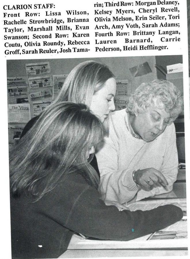 Jan helps students edit the Clarion in 1997.
