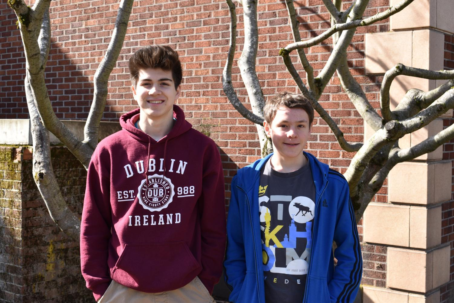 Charlie Abrams (left) and Jeremy Clark (right) pose for a picture outside Cleveland.