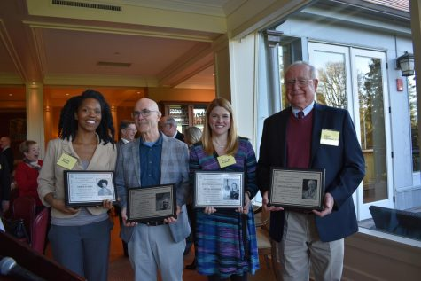 Amber Starks, Hap Tivey, Mikylah Myers, and Doug Werschkul accept their plaques for distinguished work in their respective fields post graduation from Cleveland High School