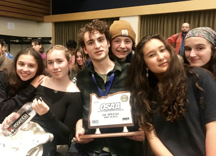 Members of the speech and debate team celebrate after the April 18-20 state tournament at Western Oregon University in Monmouth. The Cannibals placed second overall in the state competition.