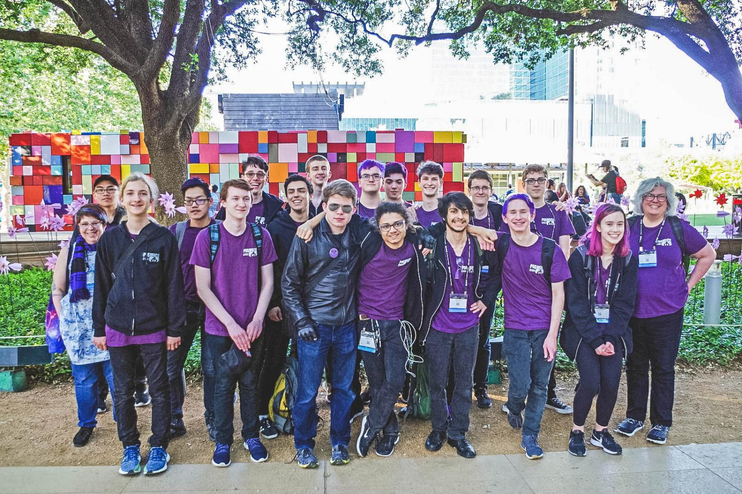 The Pigmice robotics team competed in Houston at the FIRST robotics national championships April 17-20. After joining an alliance, the team lost in the finals, taking second place in their division.