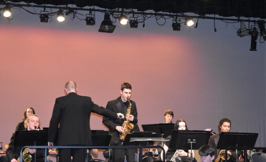 The winter music assembly involved band, choir, and jazz band