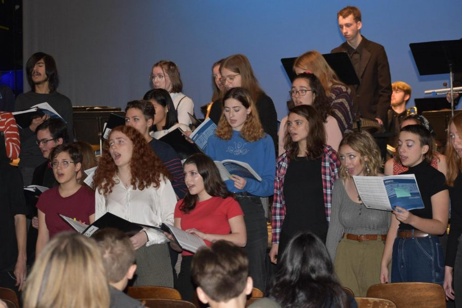 The winter music assembly involved band, choir, and jazz band.