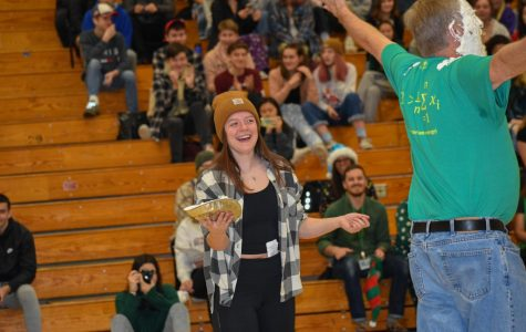 CHS Gives Back assembly. Laurel Cameron pies math teacher Erik Running.