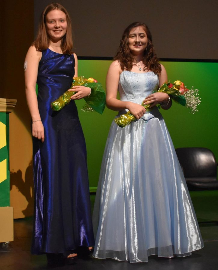Pearl Cook and Zoey Weesner at the Rose Princess Assembly