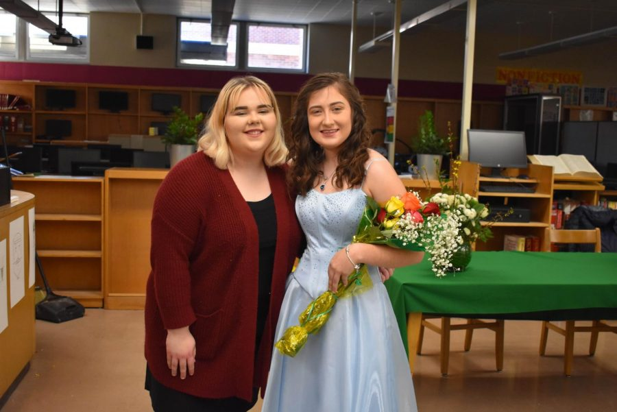 Zoie Dalton-Smith with Zoey Weesner at the Tea Ceremony following the voting assembly.