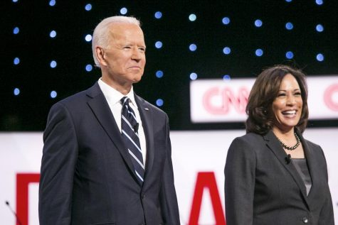 Joe Biden next to Running Mate Kamala Harris, Photographer: Anthony Lanzilote/Bloomberg © 2019 BLOOMBERG FINANCE LP