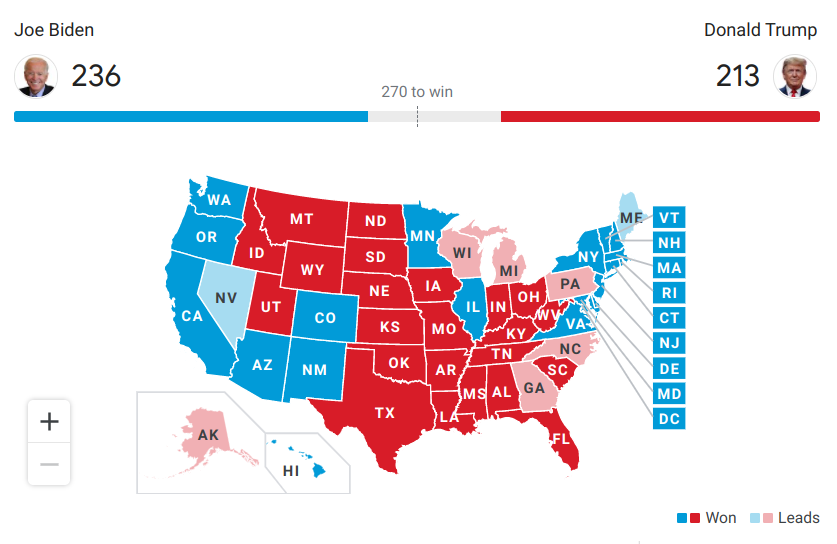 Live election map from The Associated Press at 12:02 PST, Nov. 4