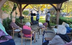 Ian, Kalob, and toRhapsody member Jaewon Yune performing at a nursing home.