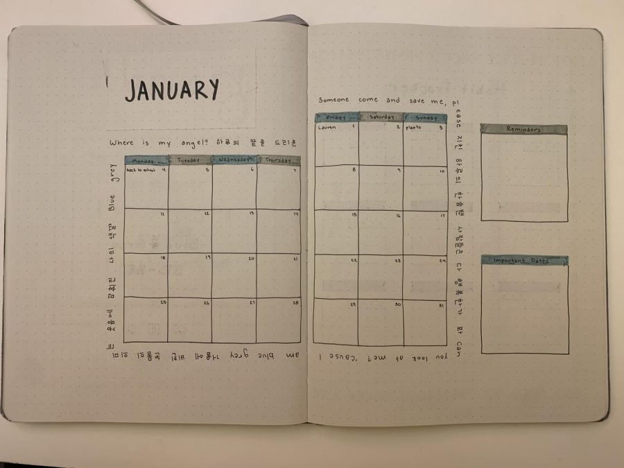 Monthly calendar, for marking down events that happen throughout the month.