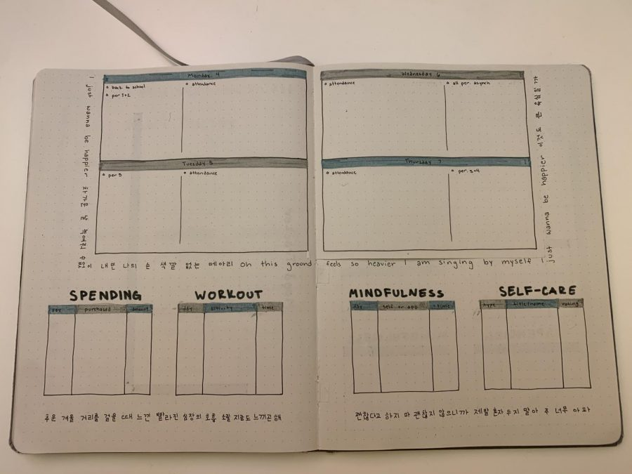 Week one spread to mark individual daily tasks and events.