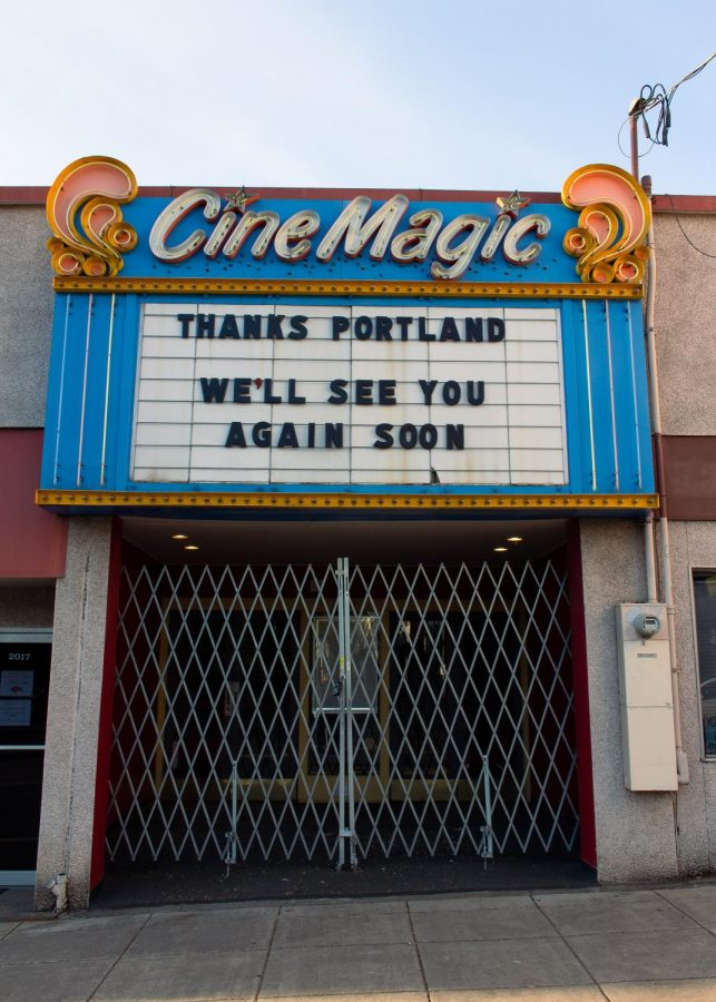 A theater on Hawthorne that had recently closed because of quarantine last spring