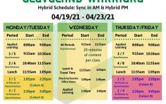 The hybrid bell schedule for the first week, starting April 19. The following week periods 5-8 will be scheduled for in person learning for cohort B.