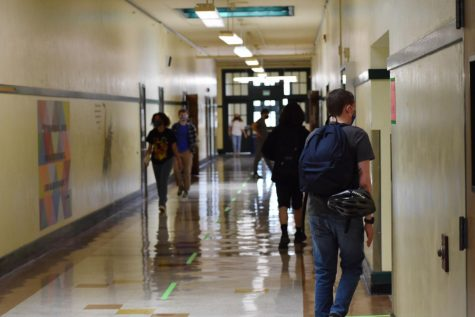Students stay in their lane as they make their way to their first class on the first day back.
