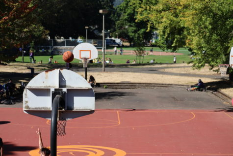 Powell Park Court and field being used during lunch time by Cleveland Students on the third week back.