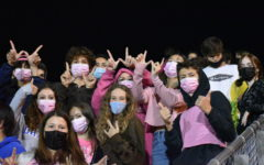 Cleveland students in the bleachers at the homecoming soccer game wearing pink for breast cancer awareness.