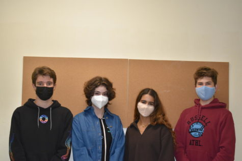 Clevelands 2021exchange students gather for a photo. (Left to right) They are Matteo Pozza, a senior from Italy, Luisa Martin Peinado, a junior from Spain, Clara Hipolito, a senior from Portugal, and Tomas Klucka, a senior from Slovakia.